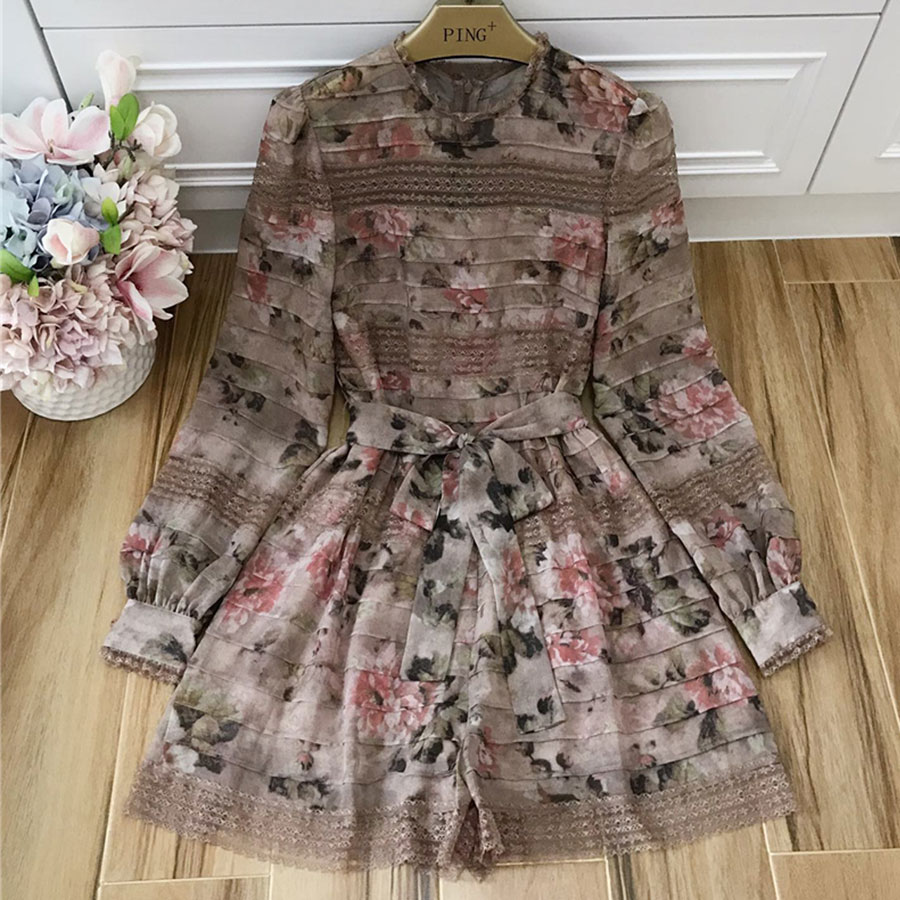 Baogarret New Summer Designer Playsuits Women Long Sleeve Romantic Flower Print Lace Patchwork Silk Resort Beads Jumpsuits in Rompers from Women 39 s Clothing