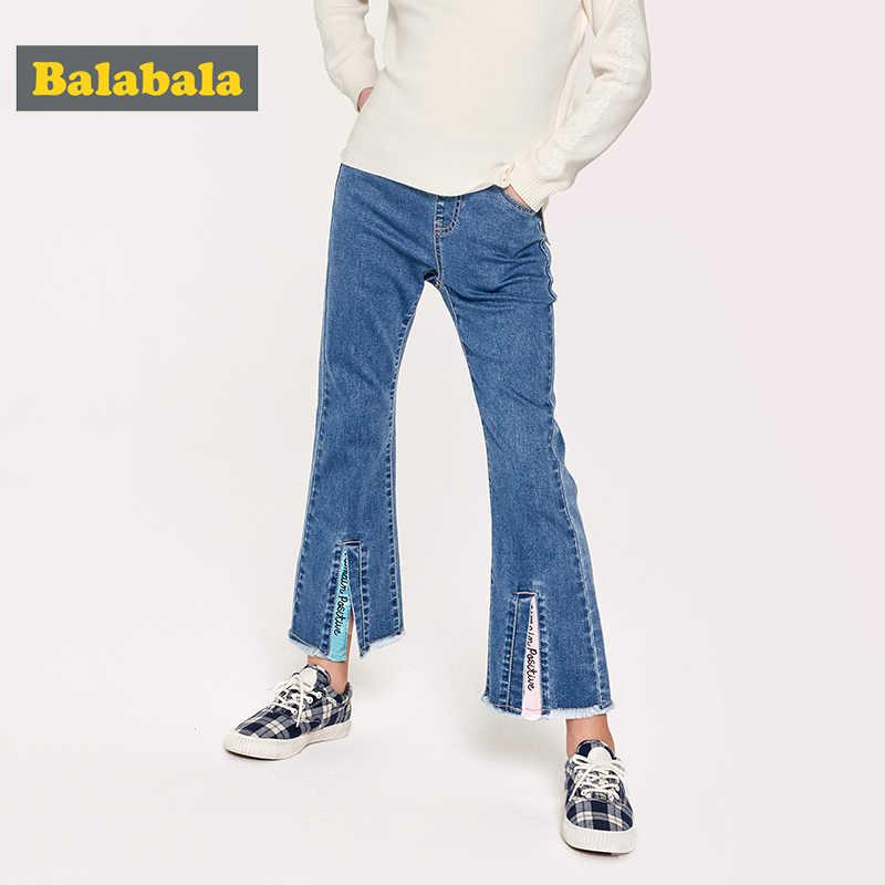 Balabala kız kot 2019 yeni bahar giyim çocuk pantolon büyük çocuk trompet pantolon moda gelgit
