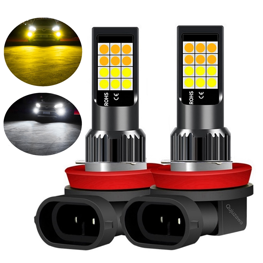 2Pcs Dual Colors H11 H8 9006 HB4 881 H27 High Quality 3030 LED Auto Fog Lamp Car Anti Fog Light Bulb Foglamps Yellow White