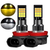2 uds de colores duales H11 H8 9006 HB4 881 H27 de alta calidad 3030 LED luz antiniebla para coche Anti bombilla de luz antiniebla luces antiniebla Amarillo Blanco