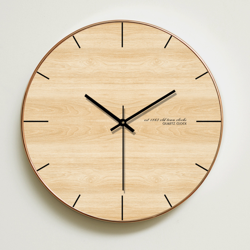 Round Wall Clock Wooden Modern Design Wooden Wall Clock Big Home Christmas Home Decoration Accessories