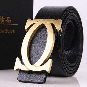 Image 5 - CDF 2020 Designer cinture uomo donna tendenza di alta qualità marchio di lusso fibbia liscia cintura in vera pelle Casual Cinto Kemer