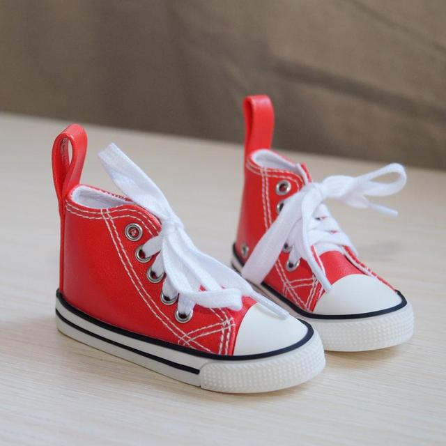 """BJD SHOES Red Sneakers Canvas Shoes Sports Flats For 1/4 17"""" 44cm 1/3 SD17 70cm SD BJD doll DK DZ AOD DD Doll FREE SHIPPING"""