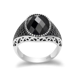 Image 3 - 925 srebro mężczyźni pierścień z czarnymi cyrkoniami kamienie Vintage Thai srebrny pierścień dla mężczyzn kobieta turecki biżuteria