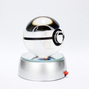 Bonita esfera de cristal de 50mm figuras 3D cristal grabado con láser bola LED luces de noche para niños regalos de navidad cumpleaños decoración del hogar