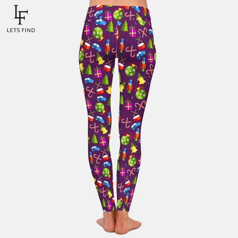 LETSFIND 2020 High Quaility Christmas Pattern with Toys Digital Print Leggings High Waist Plus Size Slim Women Fitness Leggings 4
