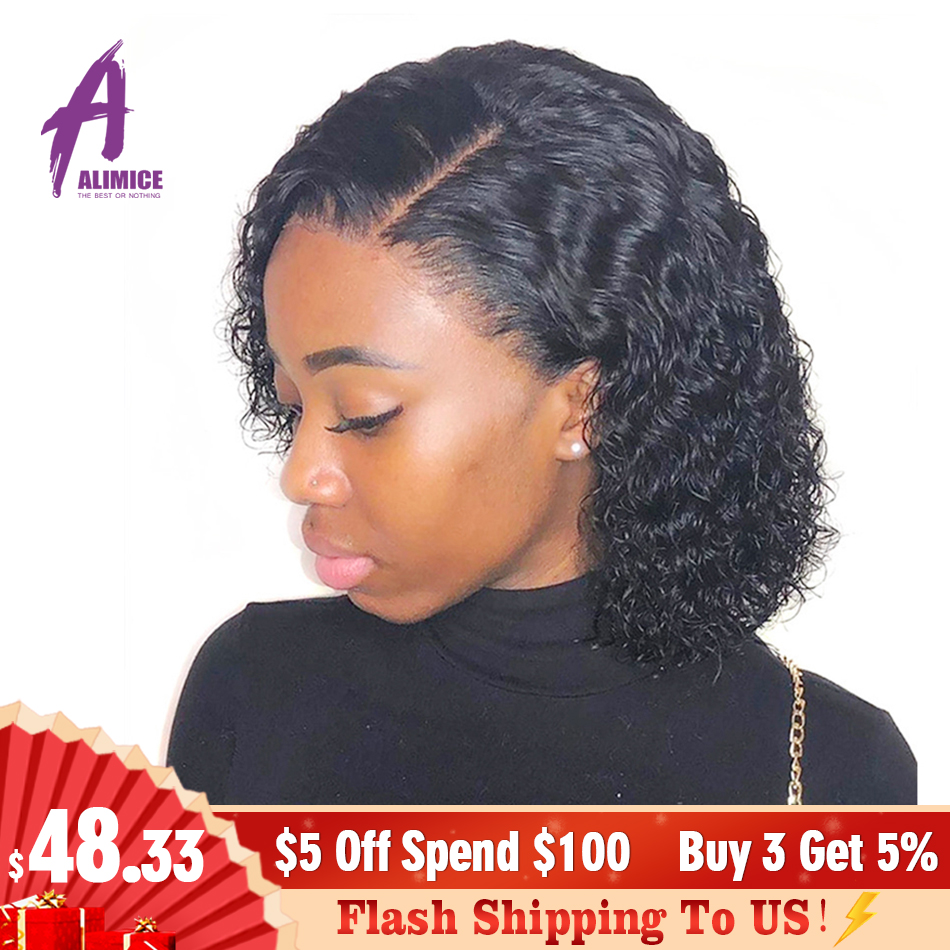Alimice 13x4 Malaysian Deep Wave Bob Wig 150% Lace Front Human Hair Wigs For Black Women Remy Human Hair Wigs With Baby Hair