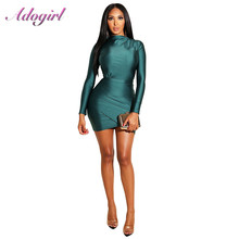Sexy Ruched Long Sleeve Bodycon Night Party Club Dress Women Casual Solid Fold Offcie Lady Pencil Mini Dresses Antumn Vestidos