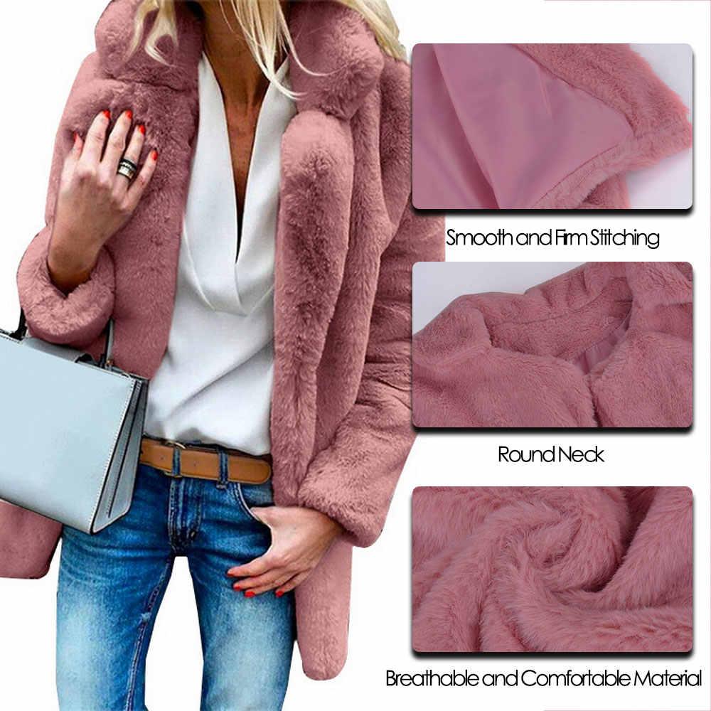 2019 נשים של חורף יוקרה פו פרווה מעילים ארוך שרוול חם עבה פלאפי מעיל מעיל מוצק אופנה פתוח נקודת להאריך ימים יותר נקבה