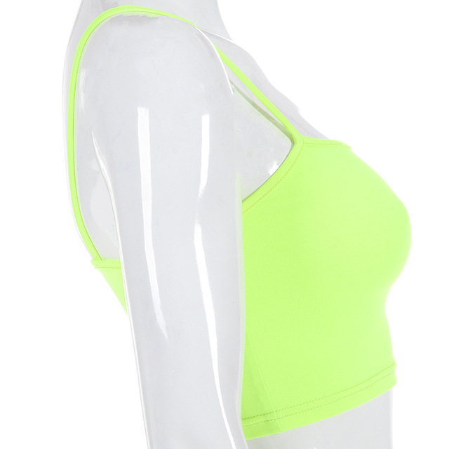 2020 neon tops Woman Fluorescence Color Short Dew Navel Camisole sexy tops streetwear workout bralette streetwear crop top Uncategorized Fashion & Designs Women's Fashion