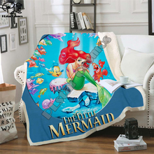 Kids Mermaid 3D Blanket Fleece Cartoon Ocean princess Print Children Warm Bed Throw Blanket newborn bayby Gril Blanket style 020
