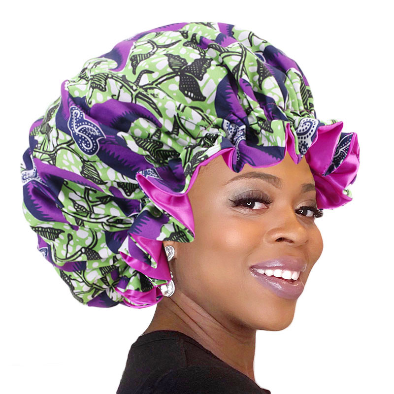 African Ankara Pattern Print Bonnet Night Sleep Cap Big Size Double Layer Satin Turban Women Hair Care Soft Hats Chemo Headwear
