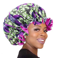 African Ankara Pattern Print Bonnet Night Sleep Cap Big Size