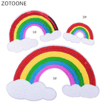 ZOTOONE 1Pc Cartoon Sequin Rainbow Patch Iron on Embroidery Cloth Sticker Set for Jackets DIY Heat Transfer Accessories Badge H image