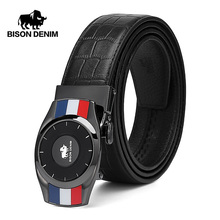 BISON DENIM Genuine Leather Men Belt Automatic Alloy Mirror Dial Buckle Luxury Crocodile Pattern Strap for Male N71502
