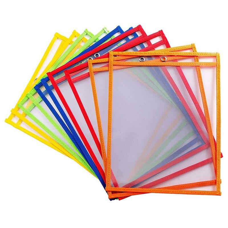 10 Dry Erase Pockets, Oversize 9 X 12 Inch Pockets, Perfect Classroom Organization, Reusable Dry Erase Pockets, Teaching Supplie