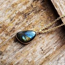 Naturel Labradorite pendentif colliers pour femmes énergie pierre de lune colliers hommes mode bijoux cadeau Collier en labradorite