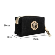 New Black fashion lady cosmetic bag solid color storage travel cosmetics handbag sequins cosmetic bag handbag new zipper cosmetic bag fashion mermaid double sided color sequins cosmetic bag ladies cosmetic bag party bags free shipping