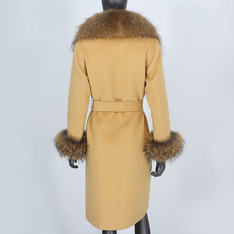 Hf7460257675c420e93532059a8682c64S 2021X-Long Natural Mongolia Sheep Real Fur Coat Autumn Winter Jacket Women Double Breasted Belt Wool Blends Overcoat Streetwea