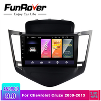 FUNROVER 2.5D+IPS Android 9.0 Car Radio Multimedia DVD Player For Chevrolet Cruze 2009 2013 gps navigation with steering wheel