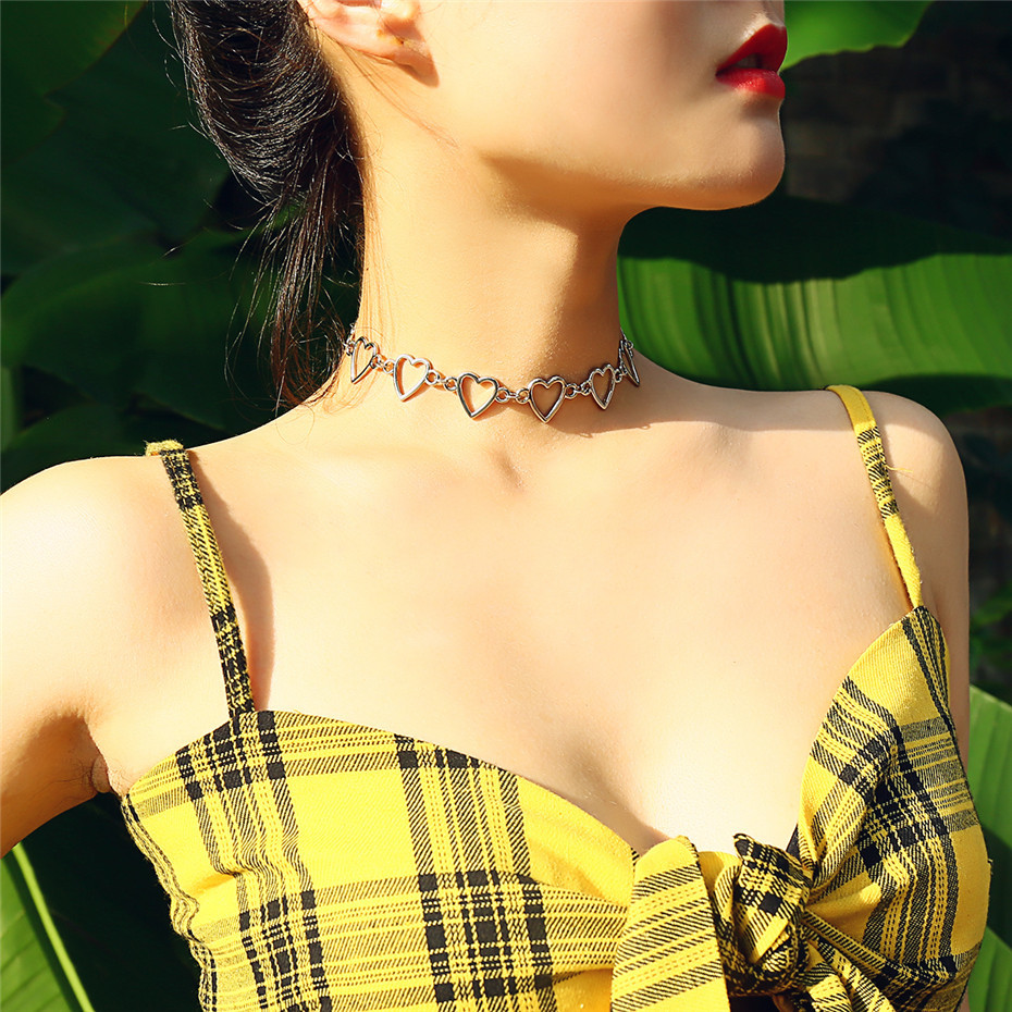 Ingemark Korean Sweet Love Heart Choker Necklace Statement Girlfriend Gift Cute Gold Silver Necklace Jewelry Collier Femme 18 6