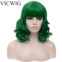 VICWIG Synthetic Short Green Red Blonde White Pink Black Wigs for Women Curly Big Wave  Wig with Bangs  Heat Resist Hair