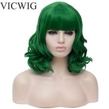 VICWIG syntetyczne krótkie zielone czerwone blond białe różowe czarne peruki dla kobiet kręcone Big Wave peruka z grzywką odporność na ciepło włosy