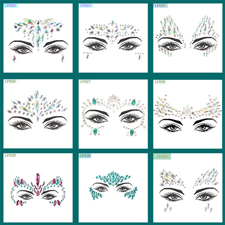 4  Acrylic Rhinestone Face Stickers Women Halloween Christmas Birthday Party Decor Environmentally Colorful Crystal Face Stickers
