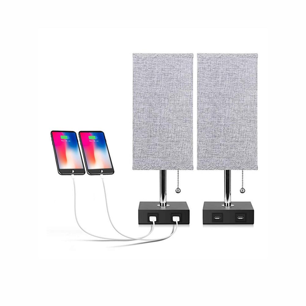 Lampe de Table Simple moderne Double Charge USB lampe de bureau lampe de chevet Double prise lampe tête Pull câble interrupteur chambre