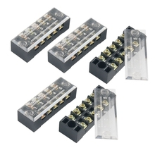 5 Pcs Dual Row 5 Position Screw Terminal Strip 600V 15A tb1504 1pcs dual row barrier screw terminal block strip wire connector fixed wiring board 600v 15a
