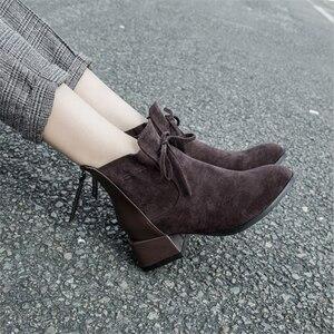 Image 4 - JIANBUDAN الخريف الشتاء المألوف المرأة حذاء من الجلد المدبوغ الراحة تشيلسي الأحذية أفخم الدافئة مكتب الإناث عالية الكعب 34 42