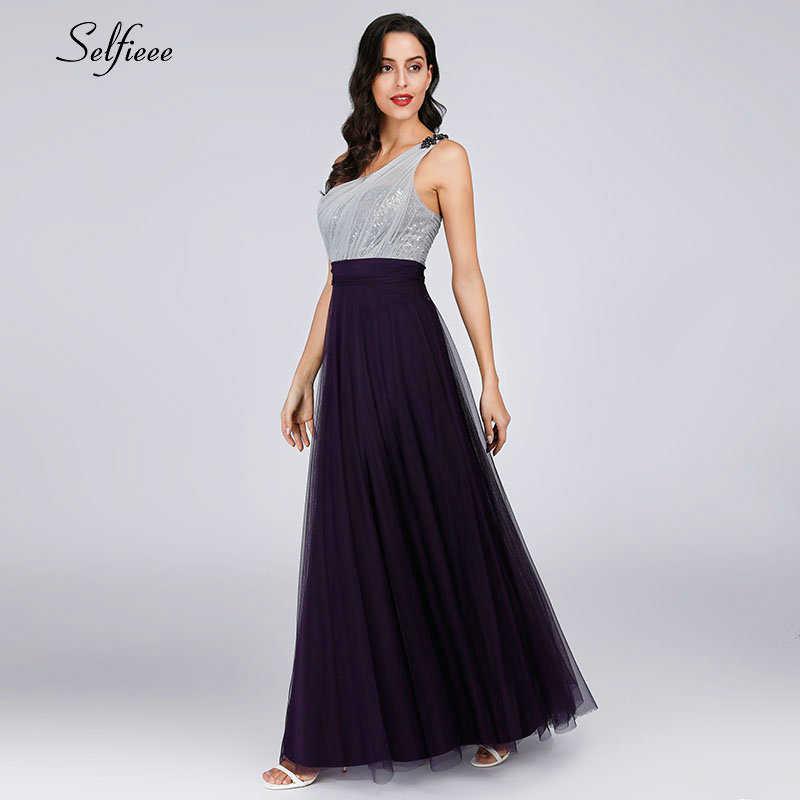 Новое Элегантное Фиолетовое Женское летнее платье, женское сексуальное платье на одно плечо с открытой спиной, вечерние платья с блестками для девушек, длинное платье макси 2019