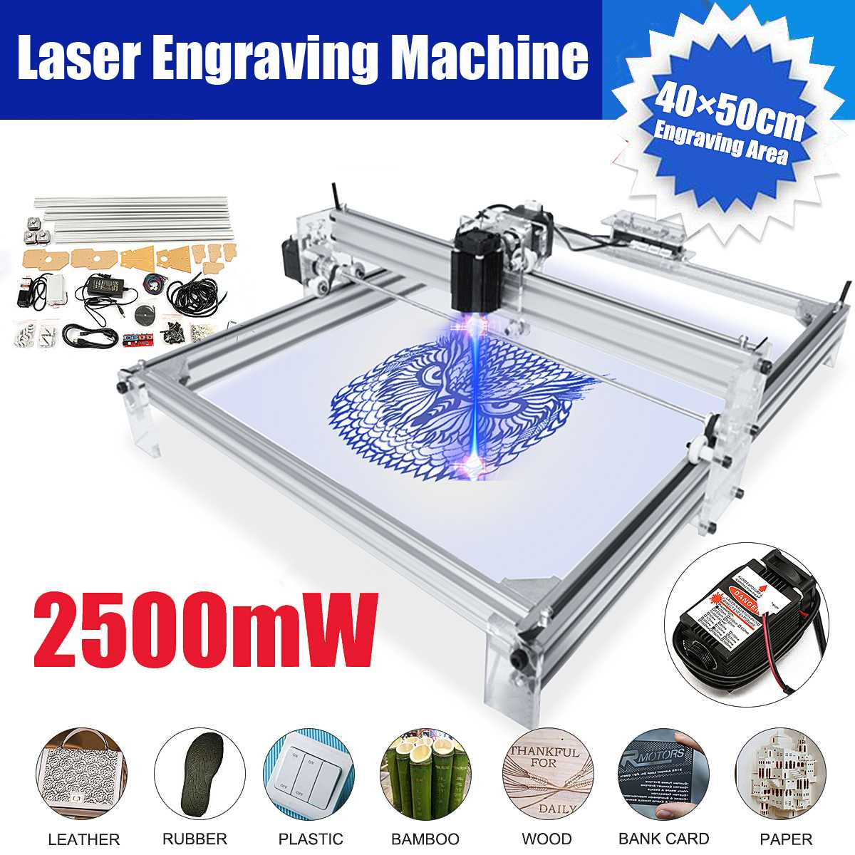 40*50cm Mini 2500MW Laser Engraving Machine 12V DIY Desktop Mini Wood RouterCutting/Engraving Machine With Laser Goggles