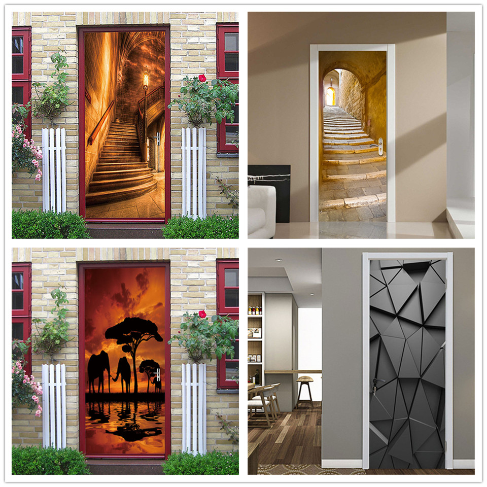 2PCS/SET 3D View Stair Door Wallpaper Self-adhesive Waterproof Posters DIY Vinyl Wall Sticker Mural Decals Home Decor Deurposter