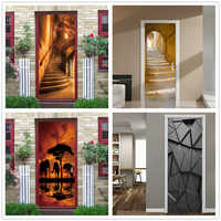 2PCS/SET 3D View Stair Door Wallpaper Self-adhesive Waterproof Posters DIY Vinyl Wall Sticker Mural Decals Home Decor deurposter