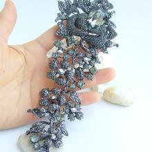 "Винтаж 7,4"" цветок брошь булавка черный серый горный хрусталь кристалл EE04705C5"