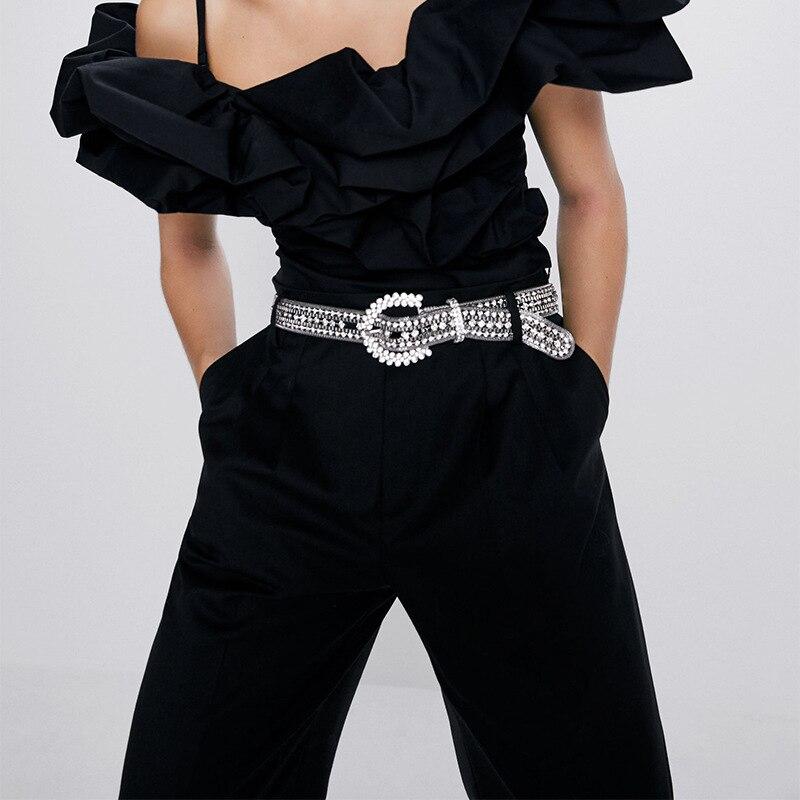 Fashion Women Silver Gold Chain Belt Luxury Brand Design Chain Belts Ladies Jewelry Rhinestone Diamond Pearl Belts Waist Dress