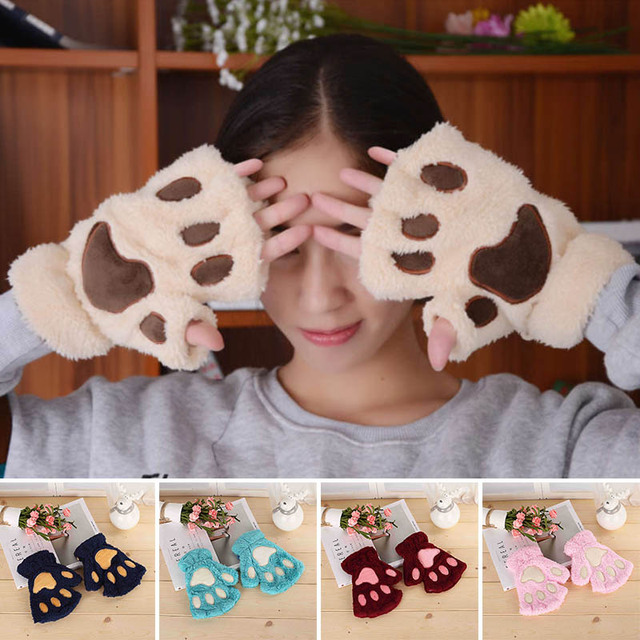Plush Thicken Big Cat  Claw Winter Supplies Warm Gloves 1 Pair Girls Gloves Cute Cartoon Half Finger