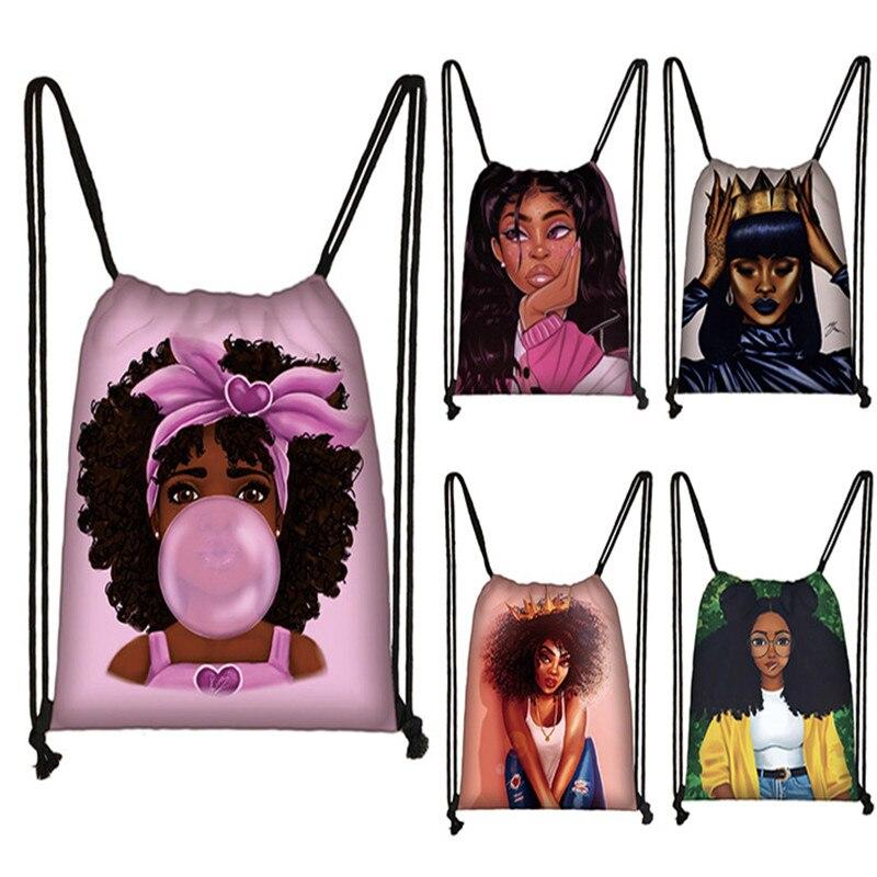 cute afro brown girl drawstring bag female travel bag American Africa women causal backpack fashion storage bag