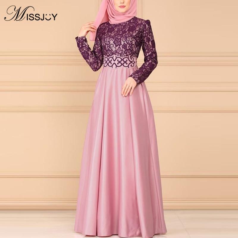 MISSJOY Muslim Women Abaya Dress Split Lace Vintage Arabic Kimono Jubah Dubai Elegant Islamic Clothing Femme Robe S-5XL Платье