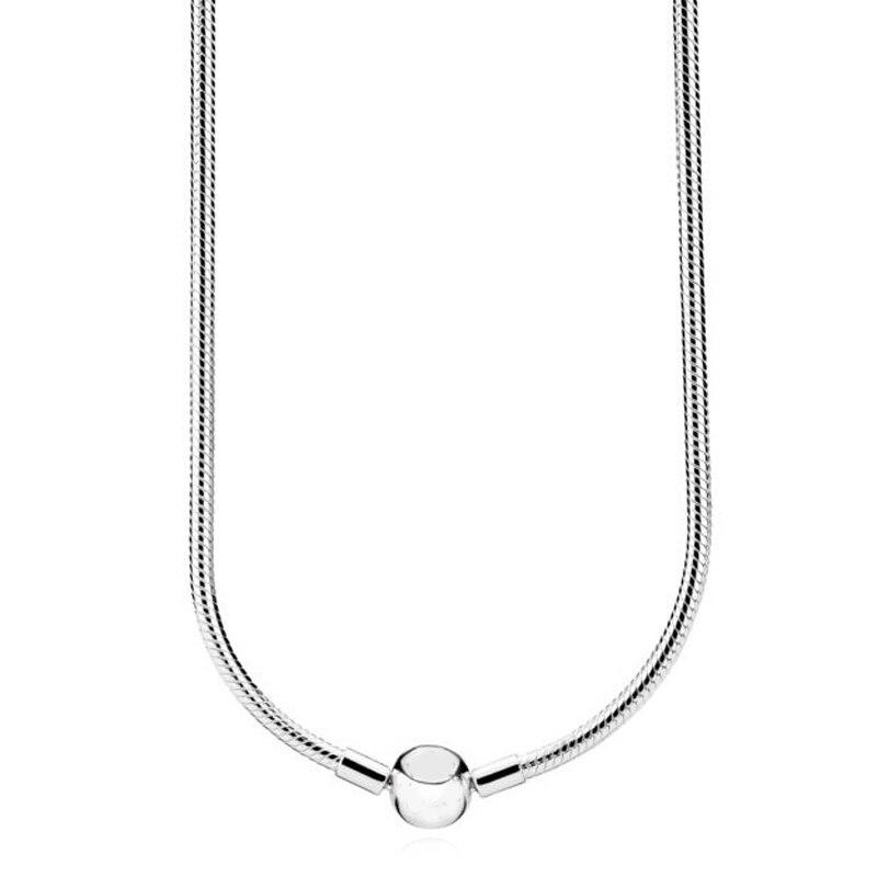 Nouveau 925 en argent Sterling collier Moments homard boule fermoir lisse serpent chaîne collier pour les femmes de mariage cadeau bijoux à bricoler soi-même - 2