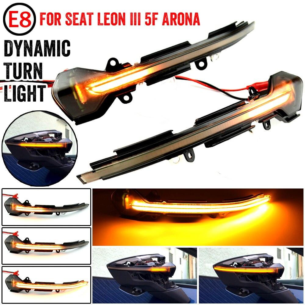 Светодиодный динамический поворотник для SEAT Leon III Mk3 5F 13-18 Ibiza KJ Mk5 V Arona 17-18, поворотный сигнал, последовательный боковой зеркальный Световой и...