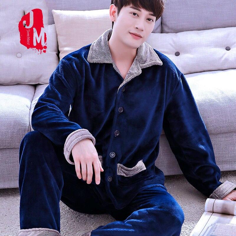Pajama Man Sleepwear-Set Flannel Fleece Full-Sleeve Male Men's XXXL Coral Solid Casual