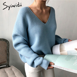 Syiwidii Women Sweater Sky Blue V-Neck Winter Fashion 2020 Clothes Batwing Sleeve Solid Casual Pullover Korean Knit New Fall Top