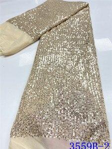 Image 3 - Tissu en dentelle à paillettes rouge populaire, tissu en dentelle africaine de haute qualité, avec paillettes, tissu en dentelle française pour femmes, mariage, APW3559B, 2020