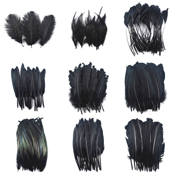 20pcs/Lot Dyed Black Feathers Rooster Goose Pheasant Feathers for Crafts jewelry making Peacock Feather Wedding Decoration Plume wholesale 10 meters pheasant feathers trim fringe chicken rooster feathers for crafts jewelry making wedding decoration plumes