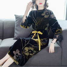 Women Dress COIGARSAM Plus-Size Spring-Print Color Design And Stand Loose Three-Quarter-Sleeve