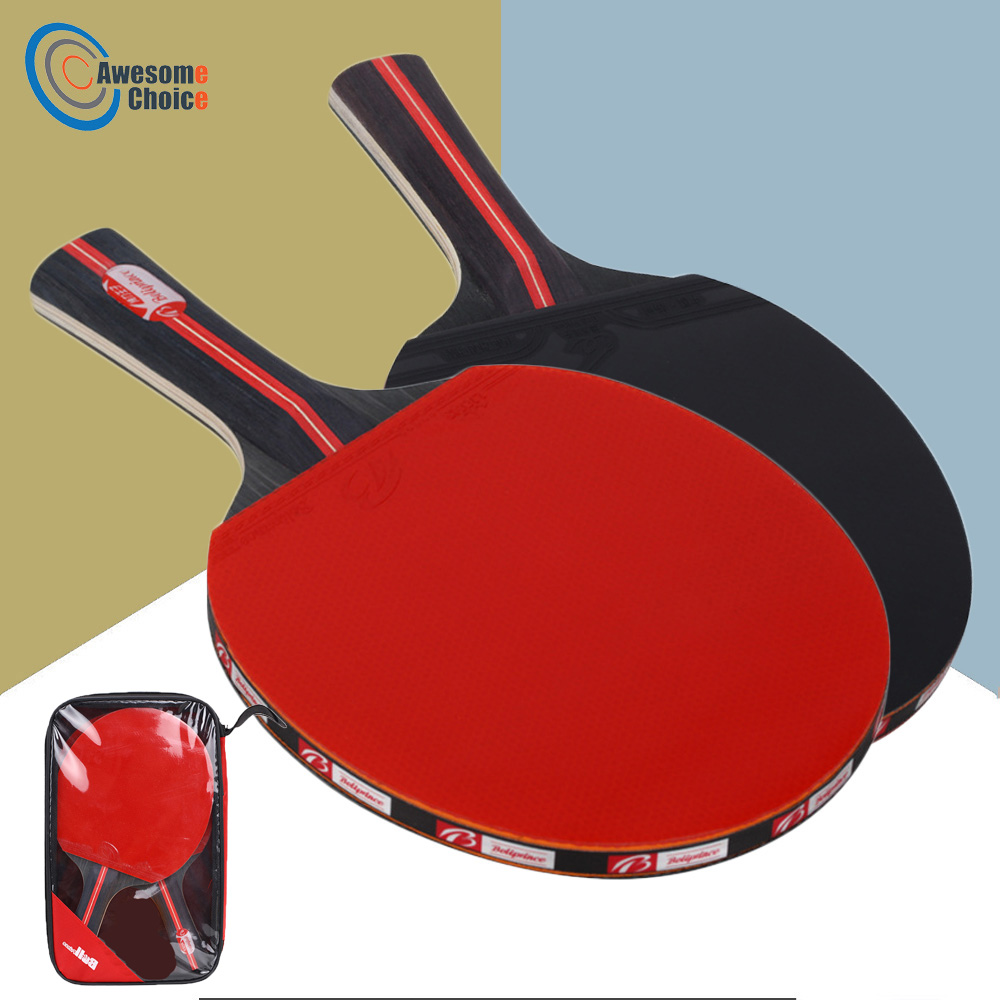 2pcs/lot Table Tennis Bat Racket Double Face Pimples In Long Short Handle Ping Pong Paddle Racket Set With Bag 3 Balls