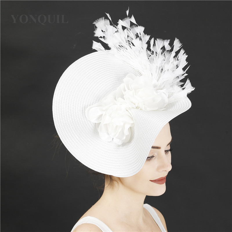 Imitation Sinamay Bride White Flower Hat Feather Fascinators Headband Women Elegant Fashion Headwear Dinner Party Hair Accessory