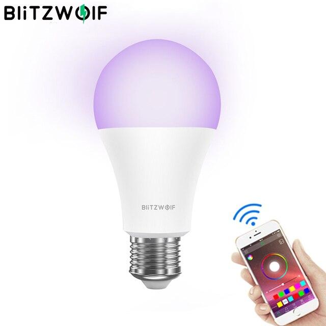 BlitzWolf חכם Wifi LED הנורה מנורות 3000K + RGB APP מרחוק בקרת קול שליטה אלחוטי LED אור הנורה עבודה עם Google בית